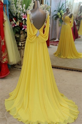 Charming Yellow Spaghetti Strap Open Back Prom Dresses | Sleeveless Lace Appliques Evening Dresses with Beads_2
