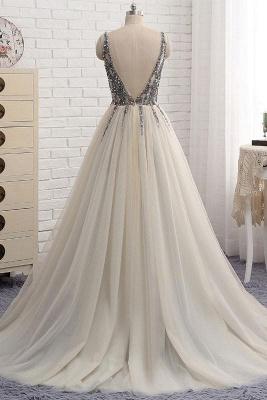 Glamorous V-Neck Crystal Lace Appliques Prom Dresses | Side slit Backless Sleeveless Evening Dresses_2