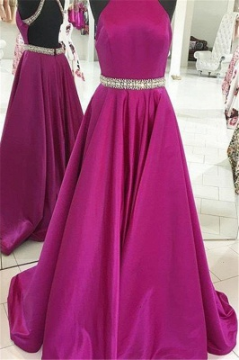 Crystal Halter Prom Dresses | Ribbon Sleeveless Evening Dresses_2