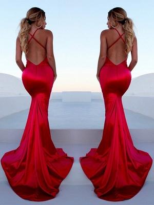 Glamorous Red Halter Lace Up Prom Dresses Sleeveless Ruffles Mermaid Side Slit Sexy Evening Dresses_3