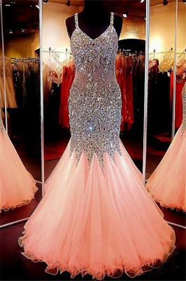 Spaghetti Strap Beads Crystal Prom Dresses | Sleeveless Pink Lace Up Evening Dresses_4