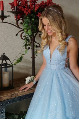 Glamorous Sequins Riboons Straps Prom Dresses | Ball Gown Sleeveless Evening Dresses with Beads_7