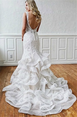 Sexy Lace V-Neck Mermaid Wedding Dresses | Sheer Ruffles Sleeveless Backless Floral Bridal Gowns_2