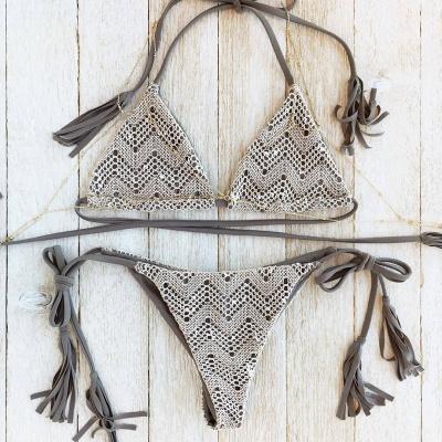 Lace Triangle Cut-outs Halter Bikini Swimwears_4