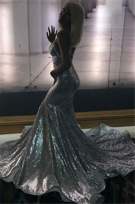 Spaghettistraps Sequins Sleeveless Prom Dresses | Sexy Mermaid Open Back Evening Dresses_2