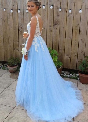 Glamorous V-Neck Lace Appliques Open Back Prom Dresses | Tulle  Sleeveless Evening Dresses_2