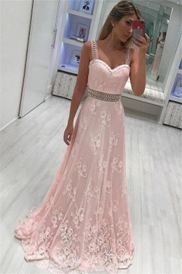 Pink Lace Straps Crystal Prom Dresses Sleeveless Sexy Evening Dresses with Belt_1