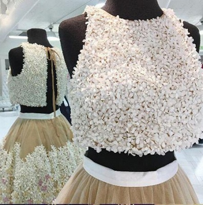 Crystal Lace Appliques Jewel Homecoming Dresses | Two Piece Sleeveless Short Party Dresses_3
