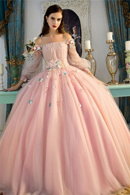 Glamorous Flower Off-The-Shoulder Lace Appliques Prom Dresses | Lace-Up Ball Gown Longsleeves Evening Dresses_1