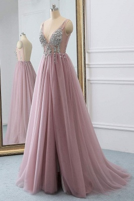Pink V-Neck Lace Appliques Crystal Prom Dresses | Sheer Side slit Backless Sleeveless Evening Dresses_4