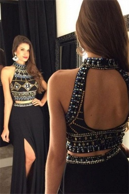 Black Open Back Beads Prom Dresses Two Piece Side-Slit Sexy Evening Dresses_1