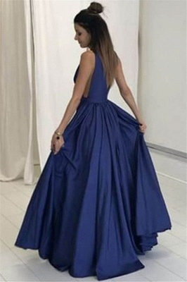 V-neck Sleeveless Prom Dresses | Ruffles  Evening Dresses with Pocket_2