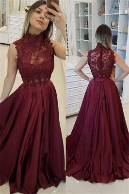 Burgundy High Neck Applique Prom Dresses Sleeveless Beads Sexy Evening Dresses with Belt_2