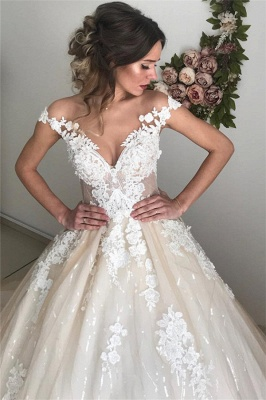 Sexy Applique Off-the-Shoulder Wedding Dresses | Sequins Backless Sleeveless Floral Bridal Gowns_4