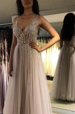 V-Neck Crystal Open Back Prom Dresses | Tulle  Sleeveless Evening Dresses_2