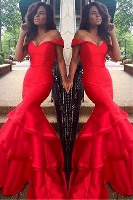Glamorous Off-the-Shoulder Ruffles Prom Dresses | Sexy Mermaid Sleeveless Evening Dresses_1