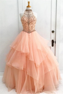 Glamorous Crystal Halter Lace Appliques Prom Dresses   Keyhole Ball Gown Sleeveless Evening Dresses with Beads_1