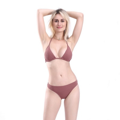 Plain Triangle Pads Halter Two-piece Bikini Sets_13