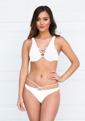 Lace-up Bandage Plain Two-piece Bikini Beachwears_1