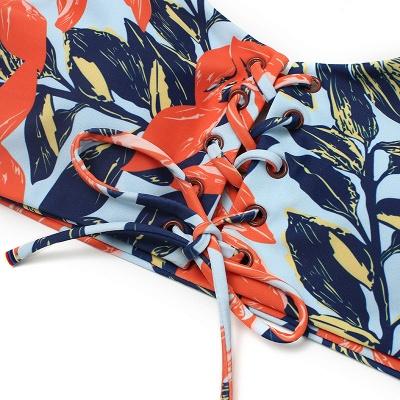High Waist Lace-up Straps Flower Prints Bikinis_3