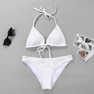 Plain Triangle Pads Halter Two-piece Bikini Sets_14