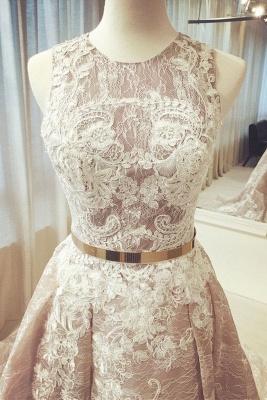 Glamorous Pink Ribbons Lace Appliques  Prom Dresses | Jewel Sleeveless Evening Dresses_2