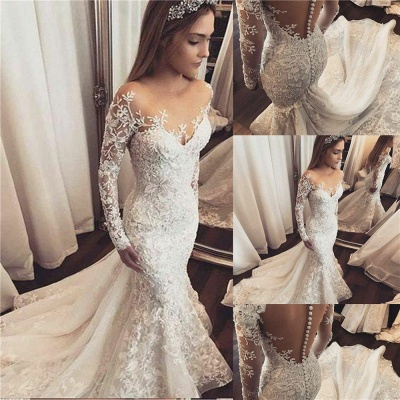 Beads Appliques Off-the-Shoulder Wedding Dresses | Ruffles Sheer Longsleeves Floral Bridal Gowns_2
