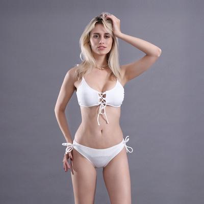 Spaghetti Straps Lace-up Bras Two-piece Bikini Swimsuits_8