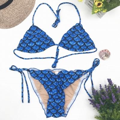 Fish-scale Patterns Two-piece Bandage Sexy Bikini Sets_5