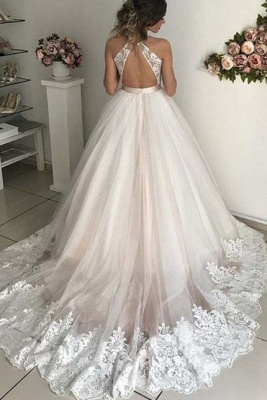 Lace Appliques Bowknot Halter Prom Dresses | Backless Sleeveless Evening Dresses_2