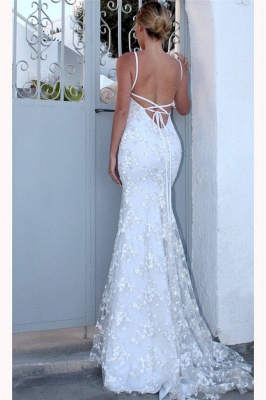 Glamorous Spaghetti-Strap Lace Appliques Prom Dresses   Side slit Lace-Up Sexy Mermaid Sleeveless Evening Dresses_2