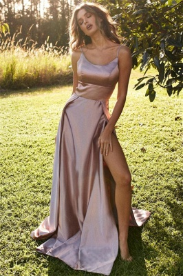 Over-Skirt Spaghetti-Strap Prom Dresses | Side slit Sleeveless Evening Dresses_1