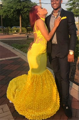 Yellow Halter Trendy Backless Summer Sleeveless Applique Trumpet Evening Dresses | Suzhou UK Online Shop_2