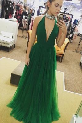 Glamorous Crystal Halter Prom Dresses | Sheer Sleeveless Evening Dresses_2