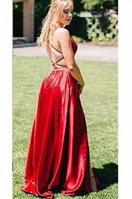 Glamorous Red Halter Lace-Up Prom Dresses | Sleeveless Evening Dresses with Pocket_2