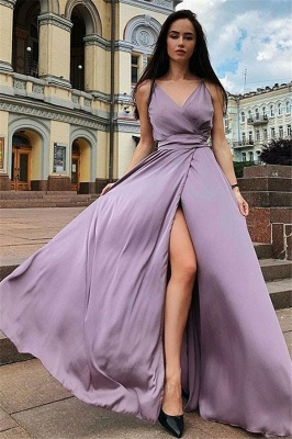 Glamorous Spaghetti Strap Prom Dresses Sleeveless Side Slit Sexy Evening Dresses with Belt_1