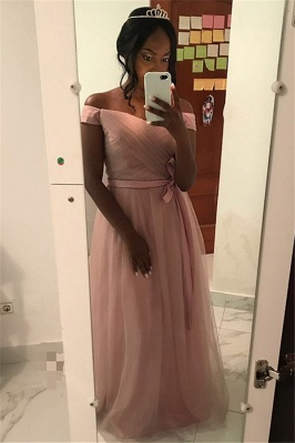 Fashion Pink Ruffles Off-the-Shoulder Prom Dresses | Tulle Evening Dresses with Bow-knot Belt_1