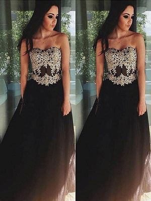Black Lace Appliques Sweetheart Prom Dresses | Tulle Simple Evening Dresses_2