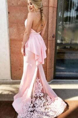 Ruffles Halter  Lace Appliques Prom Dresses | Bowknot Sexy Mermaid Sleeveless Evening Dresses_2