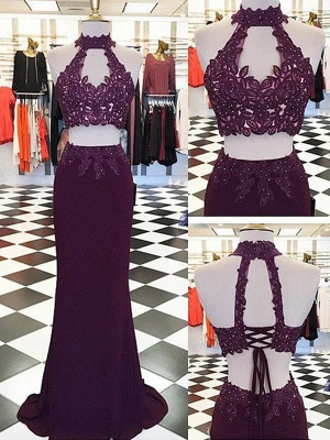 Halter Appliques Beads Lace-Up Prom Dresses High Neck Sleeveless Sexy Evening Dresses_2