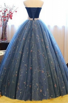 Sweetheart Lace Flower Crystal Prom Dresses Sleeveless Ball Gown Sexy Evening Dresses with Beads_4
