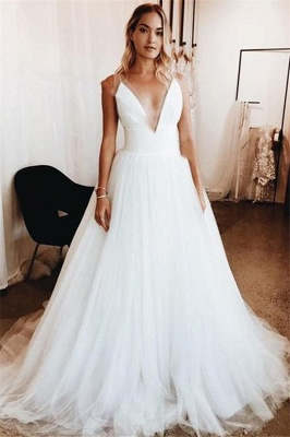 Gorgeous V-Neck Applique Wedding Dresses | Sheer Sleeveless Floral Bridal Gowns_1