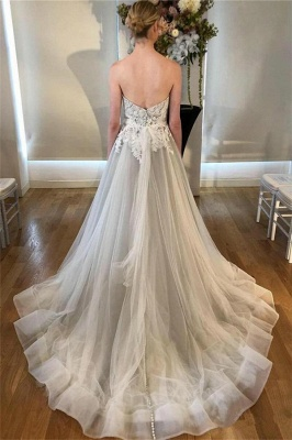 Sheer Appliques Sweetheart Wedding Dresses | Sleeveless Backless Floral Bridal Gowns_2