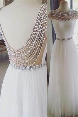 Glamorous Jewel Beads Open Back Prom Dresses | Sleeveless Tulle Evening Dresses with Belt_2