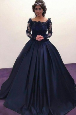 Lace Lace Appliques Bateau Long Sleeves Prom Dresses | Ball Gown Evening Dresses with Beads_4