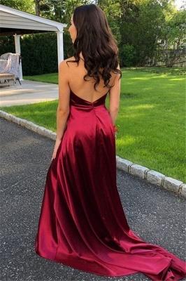 Burgundy Halter Ruffles Sleeveless Prom Dresses | Side Slit Open Back  Evening Dresses_2