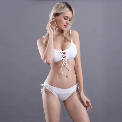Spaghetti Straps Lace-up Bras Two-piece Bikini Swimsuits_18