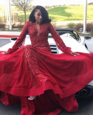 Glamorous Lace Appliques Long Sleeves Prom Dresses | Red Keyhole Falbala Evening Dresses With Beads_2