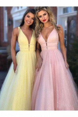 Glamorous Sequins Riboons Straps Prom Dresses | Ball Gown Sleeveless Evening Dresses with Beads_8