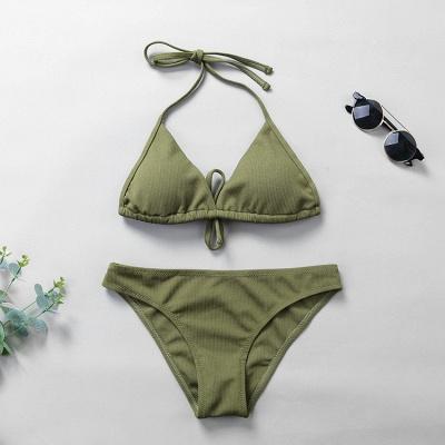 Plain Triangle Pads Halter Two-piece Bikini Sets_18